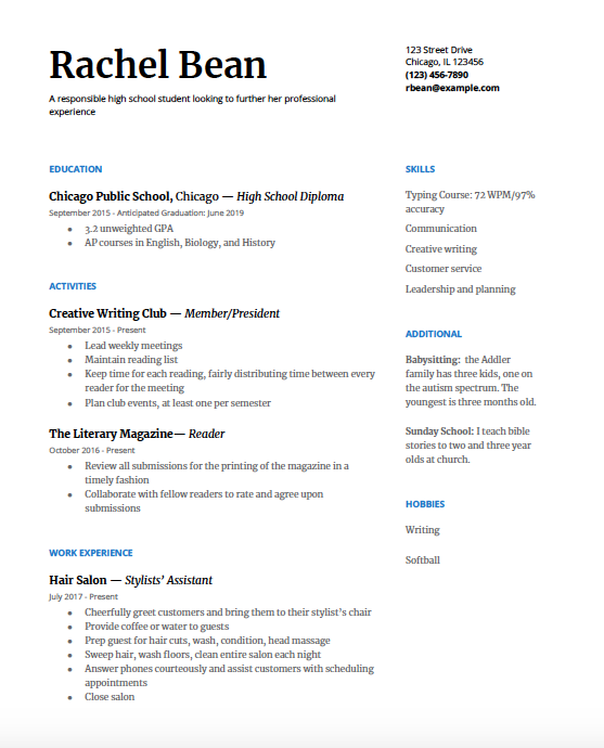High School Resume: A Step-by-Step Guide - College Greenlight